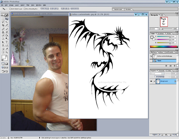In this example i've chosen a plain black tattoo image.